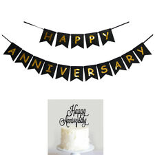 happy anniversary banner bunting & cake topper for anniversary party decoration