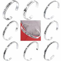 Women's Fashion Elegant Silver English Lettering Open Bangle Cuff Bracelet DIY