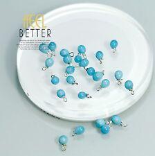 Perle Bleu Verre Goutte Pour Boucles Collier Bracelet Argenté LOT de 10 Pieces