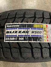 4 New 225 50 17 Bridgestone Blizzak Ws80 Snow Tires Fits 22550r17