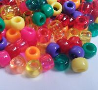 US 9x6 Pony Bead MIXES, All Colours, Multi Listing 100/500/1000, Dummy Clips