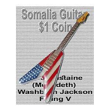 Dave Mustaine 2004 $1 Somalia Coin Washburn Jackson Flying V Megadeth Rock BU