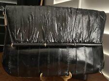 Vintage Black Eel Skin Leather Clutch Purse Shoulder Bag Korea Suede Lined