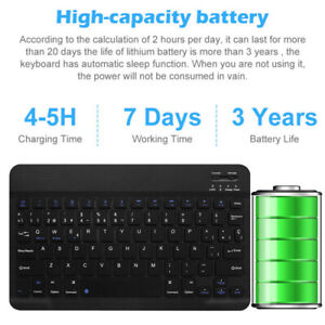 """10"""" Wireless Bluetooth Keyboard Colorful Backlit For iPad Android Windows Tablet"""