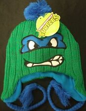New Teenage Mutant Ninja Turtles Leonardo Face Peruvian Pom Beanie Hat TMNT Leo