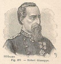 B2375 Giuseppe Sirtori - Ritratto - Incisione antica del 1930 - Engraving