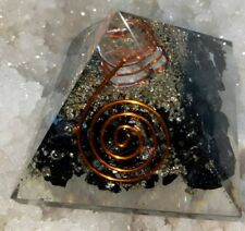Golden Shine Obsidian Orgone Pyramid 50 MM With Crystal ,Copper, Metal