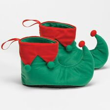 New Elf Shoes Red & Green Adult One Size by Halco Christmas 111 Costumania