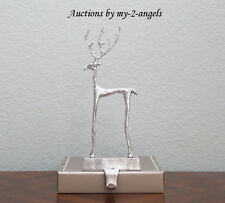 Pottery Barn Christmas Large SCULPTED REINDEER Stocking Holder SILVER more avail