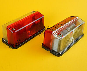 2 Radex 925 Red & White Outline Marker Lamp Light for Horsebox Trailers Caravan
