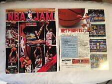 2 BALLY MIDWAY FACTORY ORIGINAL NOS NBA JAM VIDEO FLYERS WITH BONUS