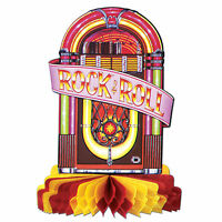 JUKEBOX CENTREPIECE ROCK & ROLL PARTY TABLE DECORATION HONEYCOMB PROP 50'S 60'S