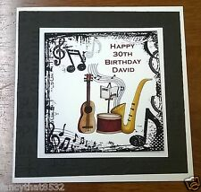Mens Handmade Personalised Birthday Card Music Any Age 18th 21st 30th 40th 50th