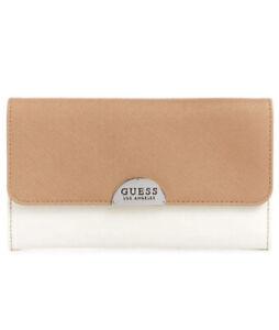 Women Guess Noor SLG Check Organizer Foldover Wallet Natural Multi S7623238