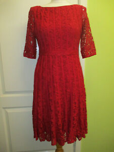 Adrianna Papell Size 10 Stunning Red Lace Fit & Flare Knee Length Occasion Dress
