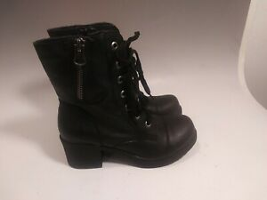 Sugar Black Faux Leather Womens Combat Boots Size 8.5 chunk Heel