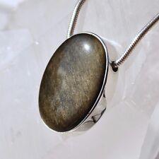 Goldobsidian Anhänger, 925er Silber, Edelsteinanhänger (11995), Obsidian