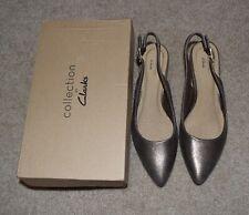 New Clarks Linvale Sondra Pointed Toe Slingback Metallic 7.5 M Heels