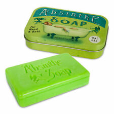 Absinthe Soap in Collectible Retro Metal Tin  Green Scented Shaving Luxury Gift