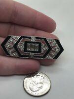 Bow 1920's Art Deco Marcasite Black Enamel Vintage Silver Pin Brooch D-4445