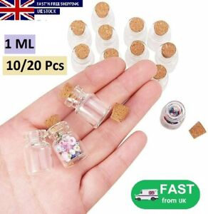 10/20x Extra Mini Tiny Clear Glass Jars Bottles With Cork Stoppers Crafts 1ML UK