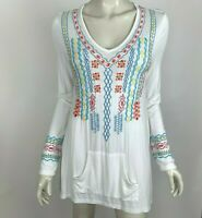 Caite Embroidered Tunic Top Long Sleeve Pocket Boho Chic Stretch Shirt Women S
