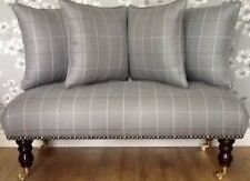 Long Footstool Stool & 4 Cushions Laura Ashley Elmore Steel Fabric
