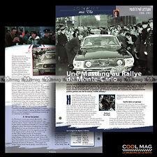#jh018.01 ★ EN FORD MUSTANG RALLYE DE MONTE-CARLO 1967 ★ Fiche JOHNNY HALLYDAY