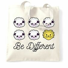 Novelty Tote Bag Be Different Cartoon Sheep Slogan Lion Weird Unique