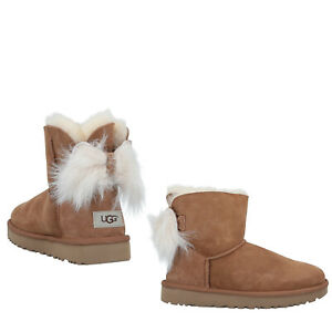 RRP €285 UGG AUSTRALIA Shearling Boots EU 40 UK 7 US 9 Sheep Fur Bow Pull On