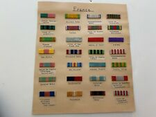 pk706 Original Ww1 And Ww2 Lot Of 30 French Ribbon Bars Mounted On Paper Id Wb3