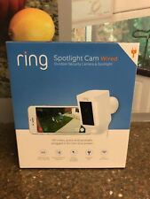 Ring Spotlight Cam Wired HD Outdoor Security Camera White Works With Alexa New