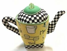 Mary Engelbreit Tall Teapot Pin Cushion Black Yellow Baking Chef Sewing Notion