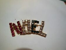Christmas NOEL Pin Brooch with Rhinestones