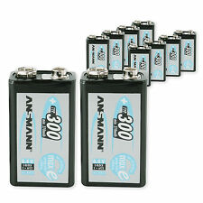 ANSMANN 10-Pack 9V 300 mAh Low Self-Discharge Rechargeable Battery 9 Volt