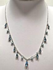 Carolee signed silver tone blue crystal rhinestone Pendant Necklace