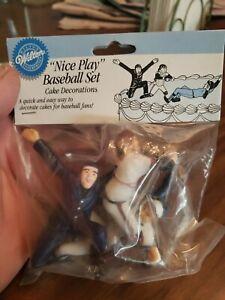 "NOS Vintage Nice Play Baseball  Cake Toppers Set 1½""to 3⅛""tall WILTON"