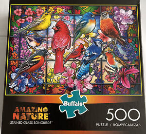 Buffalo Games - Amazing Nature Collection - Stained Glass Songbirds - 500 Piece