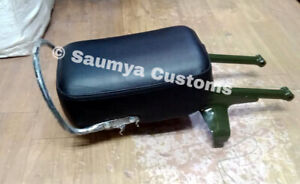 Stylish Black Rear Seat with Green Frame for Classic, Standard Royal Enfield