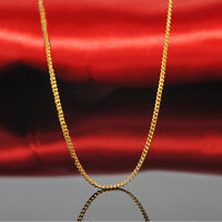 """Real 24k Yellow Gold Necklace Best Craft Women&Men Lucky Curb Chain 16.5"""" 1.2mm"""