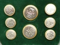 A set of 925 silver buttons in excellent condition, initials DKJ. with splitpins