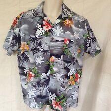 Maui Trading Company Hawaiian Camp Shirt Small Gray White Orange Red Palm Trees