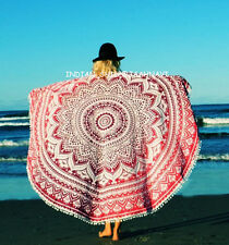 """46"""" Ombre Round Mandala Hanging Beach Throw Tapestry Yoga Mat With Pom Pom Wall"""