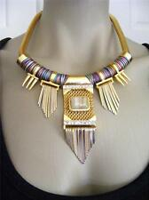$128 Vince Camuto *Maya* Color Wrap On Metal Bib Necklace Mesh Pendant w/Fringe