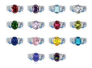 Large Oval Cut Promise Infinity Celtic Birthstone Blue Opal Silver Ring