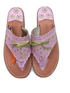 Steven Salario Handmade Palm Beach Sandals Sz9 Pink And Green Leather LAST PAIR