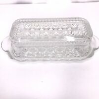 Vintage Butter Dish With Lid Cut Clear Glass