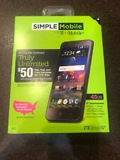 NEW Simple Mobile ZTE ZFIVE G Black 16GB 4G LTE Smartphone by T-Mobile Z557BL