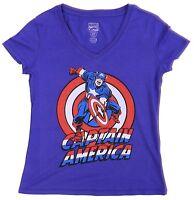 Marvel Comics Purple Captain America Tee V-Neck Size L Large Women T-Shirt Top