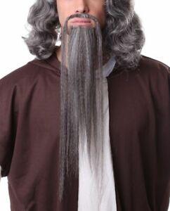 HUMAN HAIR CHINESE KUNG FU MANCHU MAN CHU MASTER COSTUME MUSTACHE & BEARD LONG
